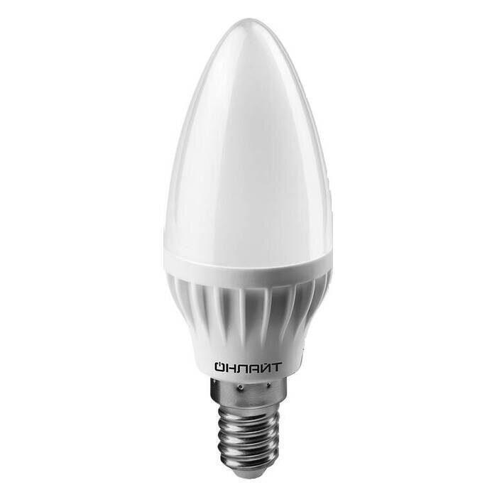 Фото - Лампа светодиодная С37 свеча 8Вт 230V 4000К Е14 ОНЛАЙТ