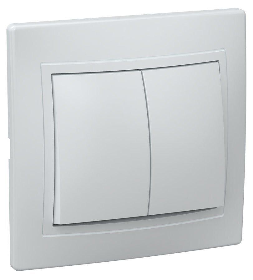 Фото - Выключатель 2-клавишный ВС10-2-0-КБ 10А КВАРТА белый IEK