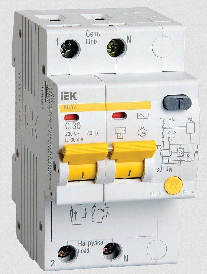 Дифференциальный автоматический выключатель АД12 2Р 32А 30мА IEK, фото