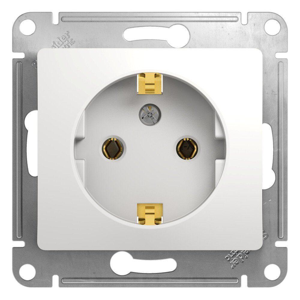 Фото - Розетка 1-местная  Schneider Electric GLOSSA GSL000143 с з/к механизм белый