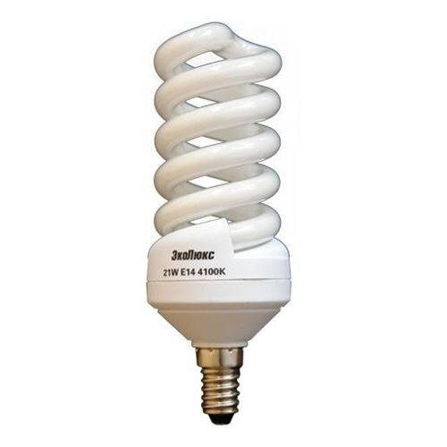 Фото - Лампа энергосберегающая спираль Е14 21Вт 2700 К ЭкоЛюкс