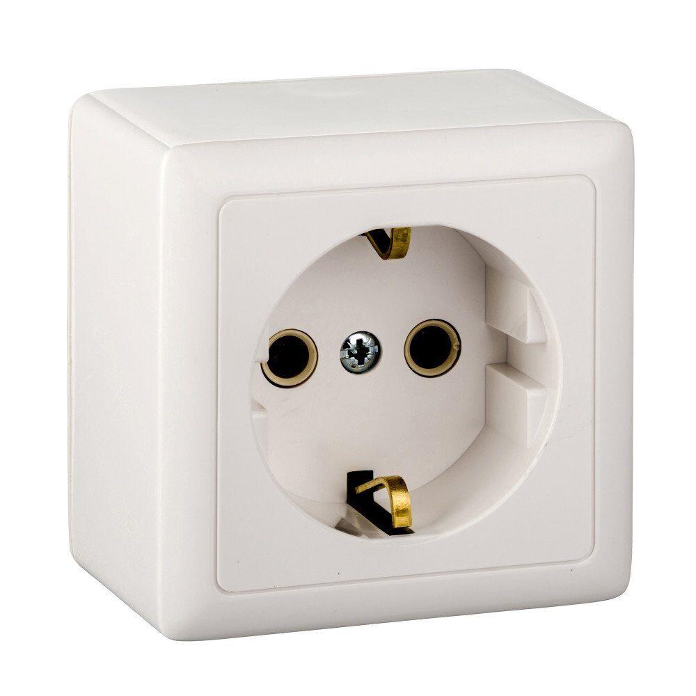 Фото - Розетка 1-местная Schneider Electric Хит RА16-133-B (РА16-133-б) О/У с з/к (250В, 16А) белый