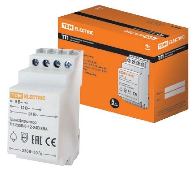 Фото - Трансформатор понижающий (звонковый) ТП-230В/8-12-24В 8ВА DIN-рейка