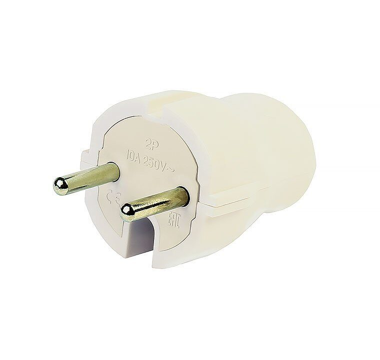 Фото - SmartBuy вилка 10А 250В (АБС-пластик, прямая, белая) SBE-10-P04-w